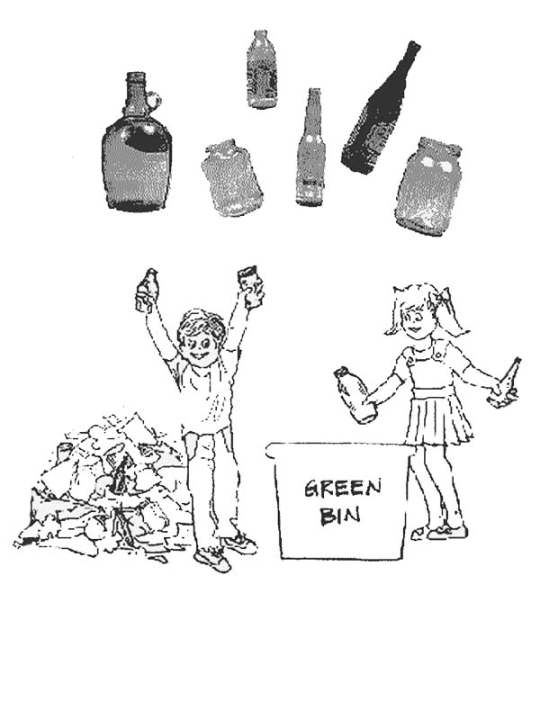 Recycling, : Picking the Right Waste for Recycling Coloring Page
