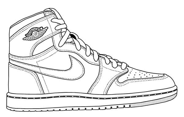 Shoes, : Picture of Basketball Shoes Coloring Page