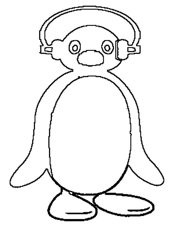 Pingu, : Picture of Pingu Putting Head Phone Coloring Page