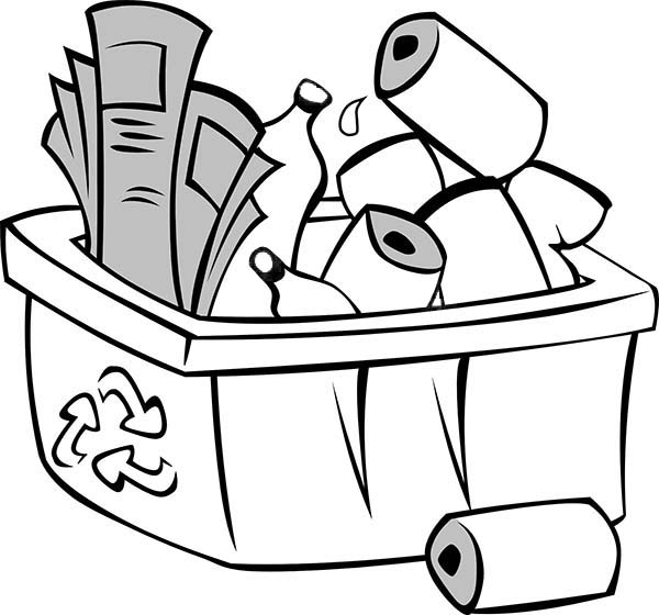 Recycling, : Picture of Recycling Waste Coloring Page