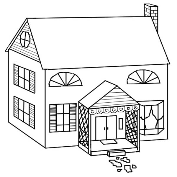 School House, : Picture of School House Coloring Page