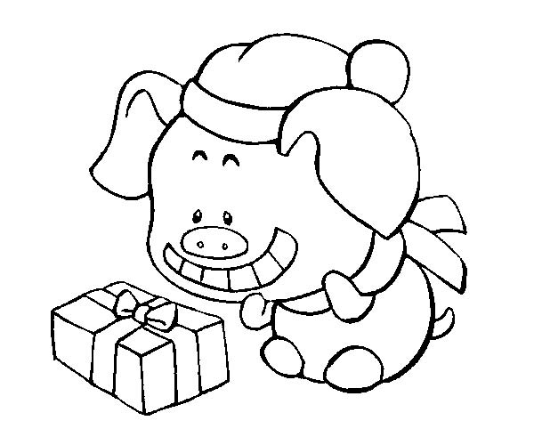 Silly Face, : Pig Silly Face When Open a Present Coloring Page