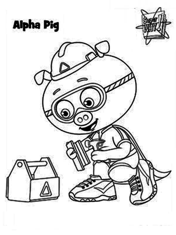 Superwhy, : Pig Super Hero Form Alpha Pig in Superwhy Coloring Page
