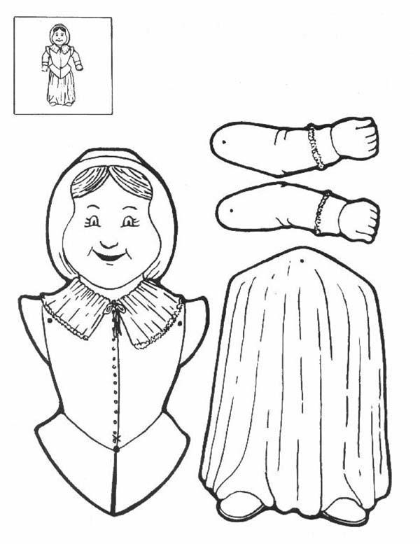 Puppet, : Pilgrimwoman Puppet Part Coloring Page