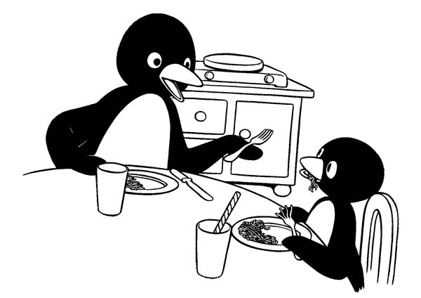 Pingu, : Pingu Had Breakfast with His Mother Coloring Page