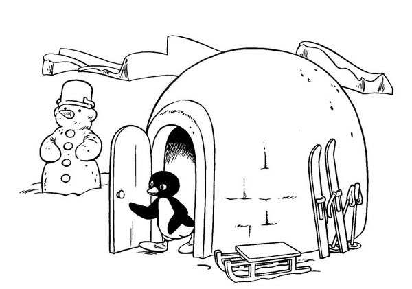 Pingu, : Pingu Just Came Out from His Igloo Coloring Page