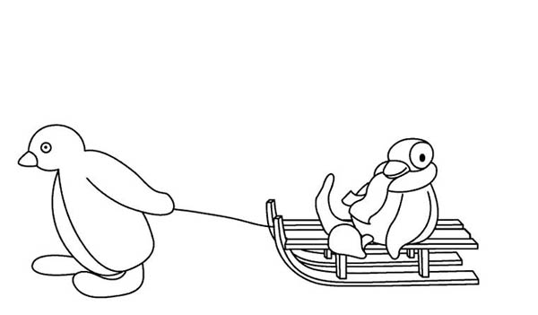 Pingu, : Pingu Pulling Her Sister Sitting on Ski Cart Coloring Page