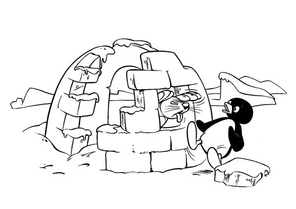 Pingu, : Pingu Surprised by His Best Friend Robbie the Seal Coloring Page