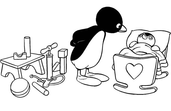 Pingu, : Pingu Takes Care of Her Sister Pinga Coloring Page