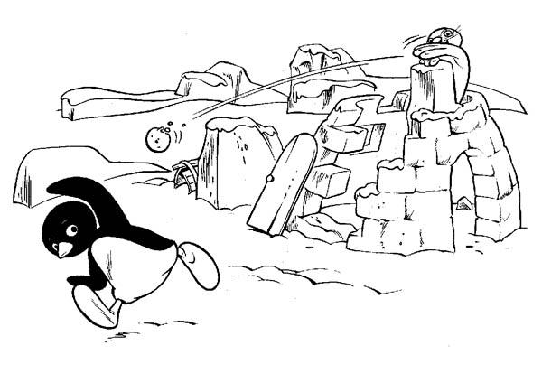 Pingu, : Pingu and Robbie the Seal Had Snow War Coloring Page