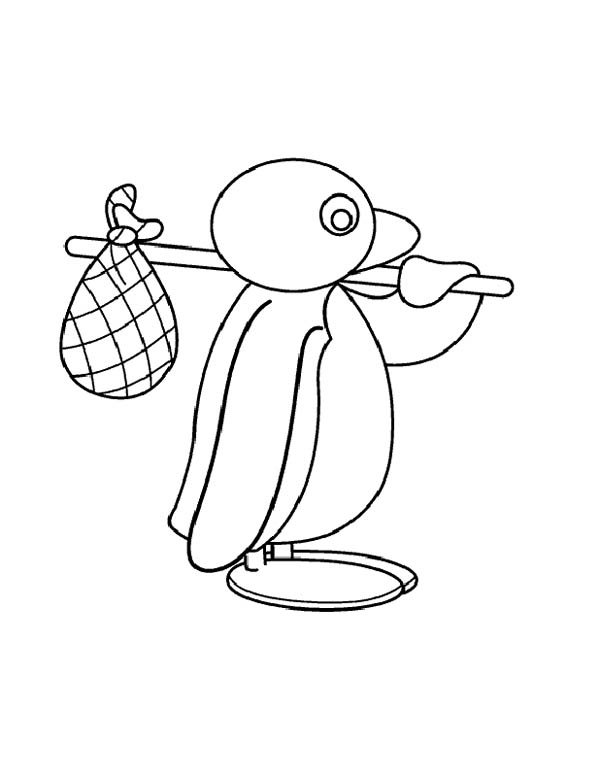 Pingu, : Pingu is Going for Adventure Coloring Page