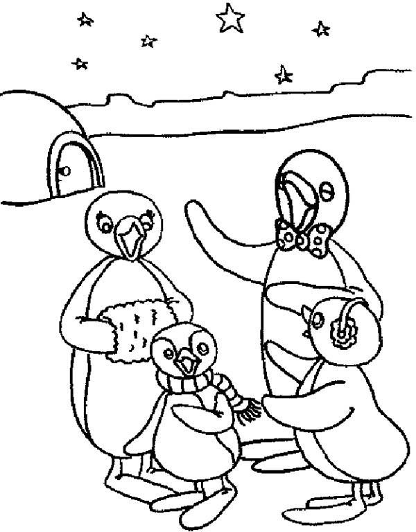Pingu, : Pingu the Pinguin Big Family Coloring Page