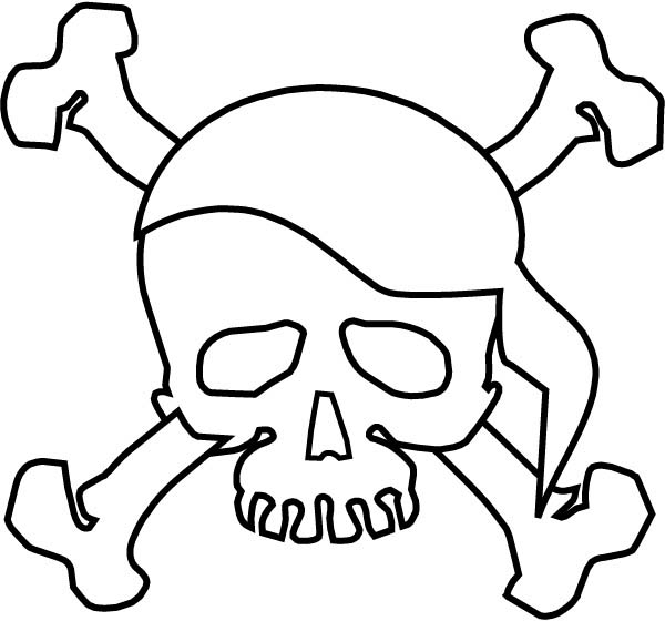 Skull, : Pirate Terrifying Symbol Skull Coloring Page