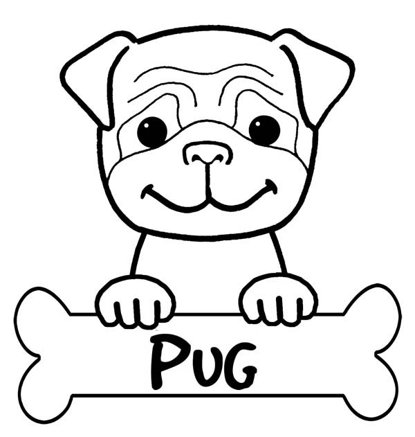 Pitbull, : Pitbull Pug Has Bone to Eat Coloring Page