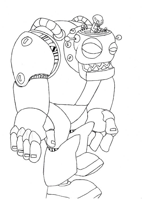 plant vs zombie robot coloring page