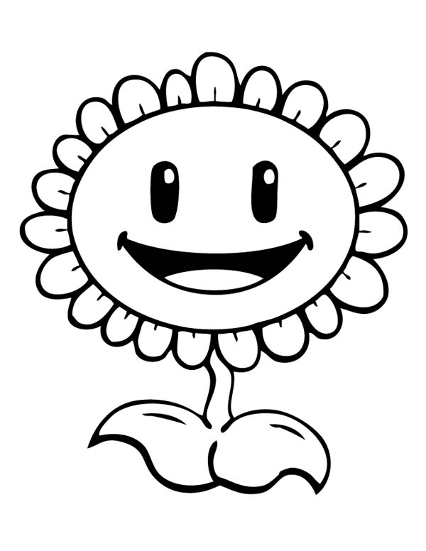 Plant vs Zombie, : Planting Sunflower in Plant vs Zombie Coloring Page
