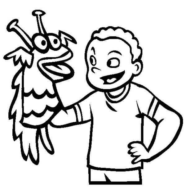 Puppet, : Playing Hand Puppet Coloring Page