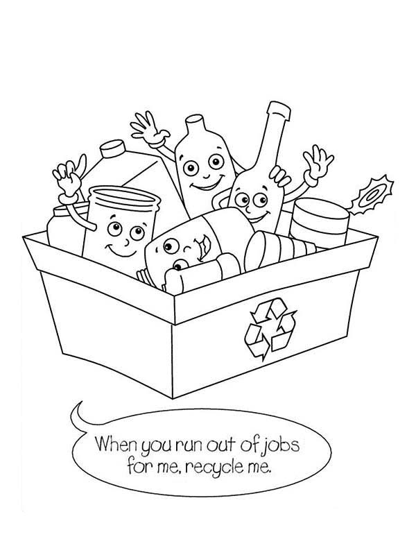 Recycling, : Please Recycling Me Coloring Page