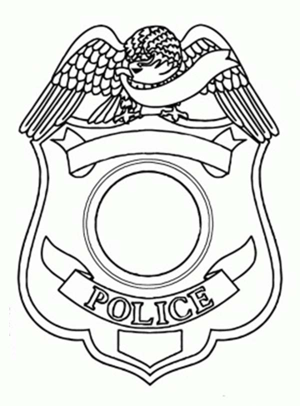 Police Badge, : Police Badge Picture Coloring Page