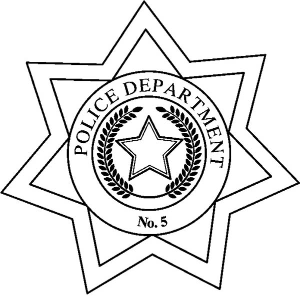 Police Badge, : Police Department Badge Coloring Page