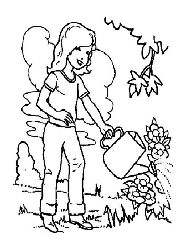 Plants, : Preschool Girl Watering Plants Coloring Page