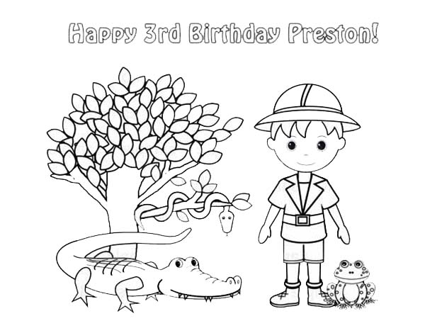 Safari, : Preston Animal Safari Coloring Page