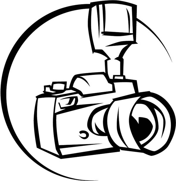 Photography, : Professional Camera for Photography Coloring Page