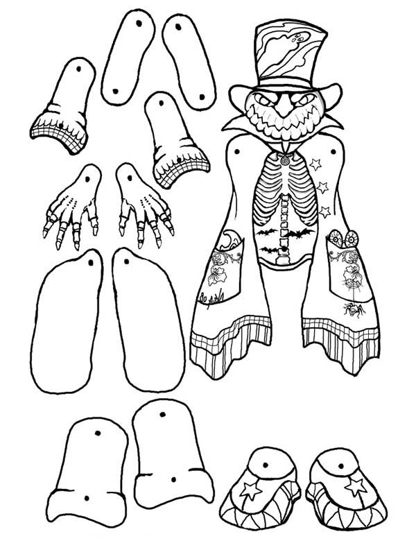 Puppet, : Pumpkin Head Puppet Part Coloring Page