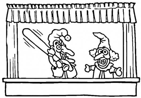 Puppet, : Puppet Showtime Coloring Page