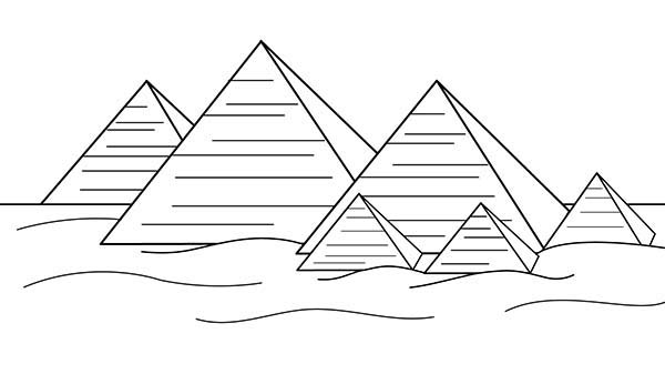 Pyramid, : Pyramid Coloring Page for Kids