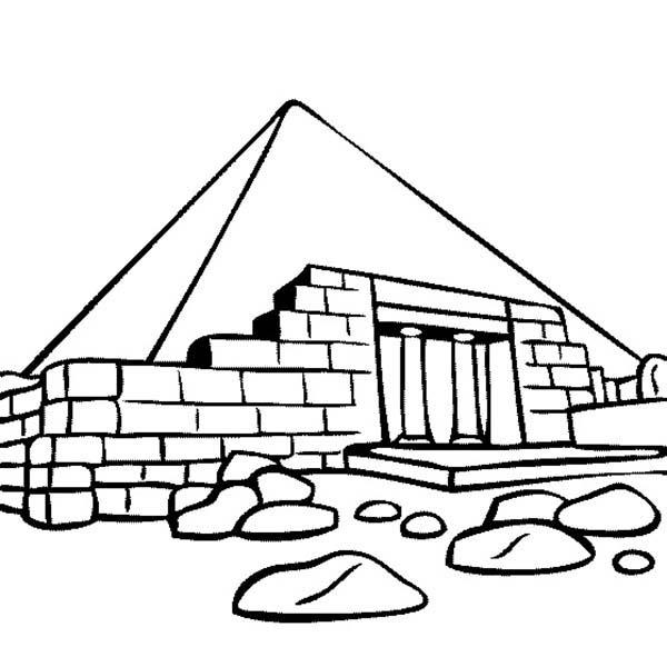 Pyramid, : Pyramid Ruins Coloring Page