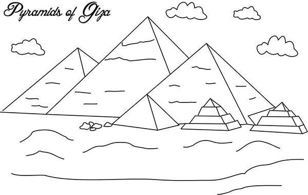 Pyramid, : Pyramid of Giza Coloring Page