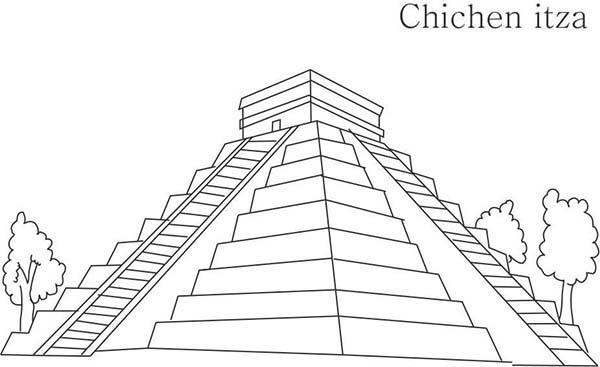 Pyramid, : Pyramid of the Sun Coloring Page