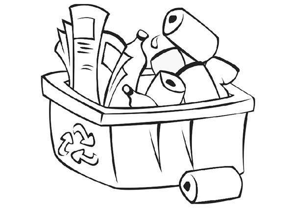 Recycling, : Recycle Bin Coloring Page for Kids