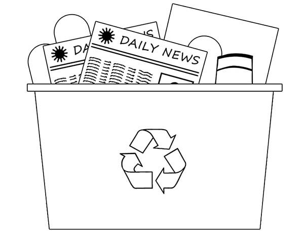 Recycling, : Recycling Bin Coloring Page