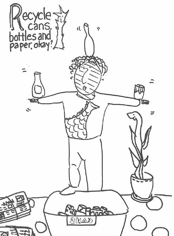 Recycling, : Recycling Cans Bottles and Paper Coloring Page