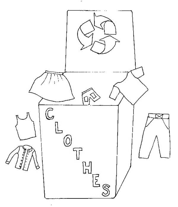Recycling, : Recycling Clothes Coloring Page