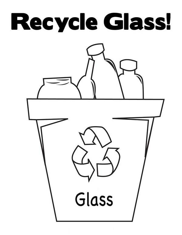 Recycling, : Recycling Glass Bucket Coloring Page