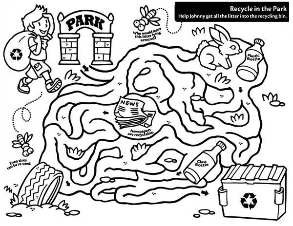 Recycling, : Recycling Maze Coloring Page