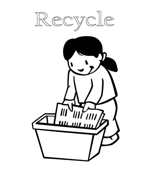 Recycling, : Recycling Used Paper Coloring Page