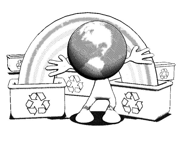 Recycling, : Recycling Waste for Green Earth Coloring Page