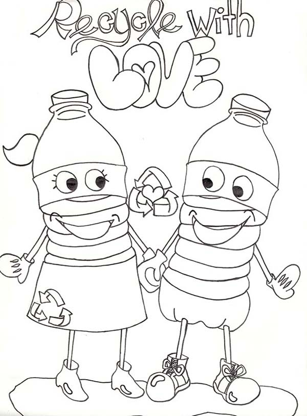 Recycling, : Recycling with Love Coloring Page