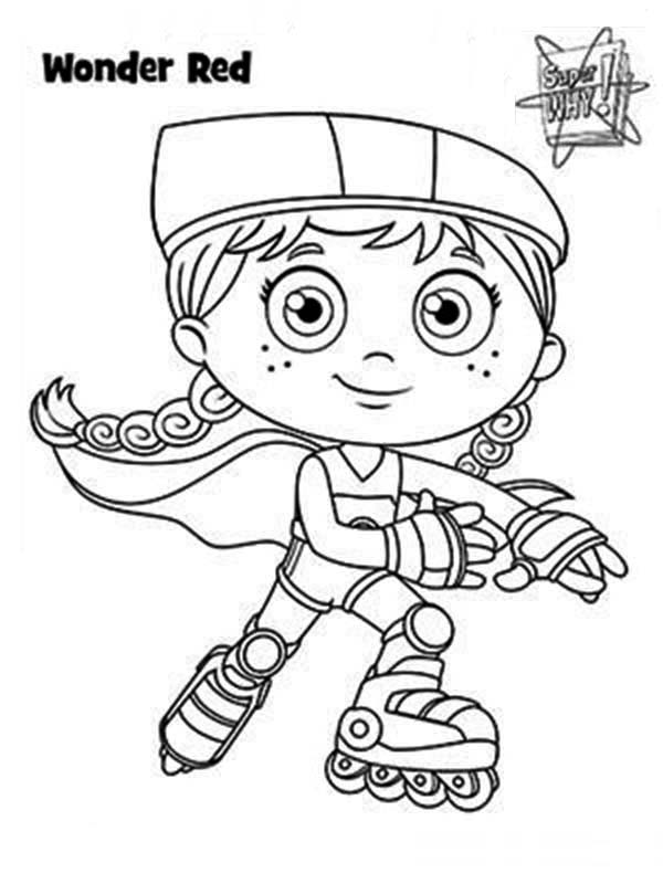 Superwhy, : Red Riding Hood Super Hero Form Wonder Red in Superwhy Coloring Page
