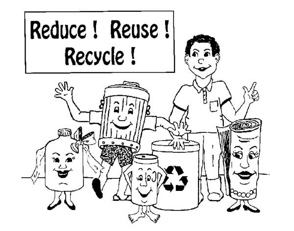 Recycling, : Reduce Reuse and Recycling Coloring Page