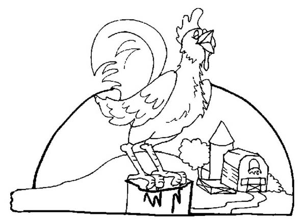 Rooster, : Rooster Crowing in the Morning Coloring Page
