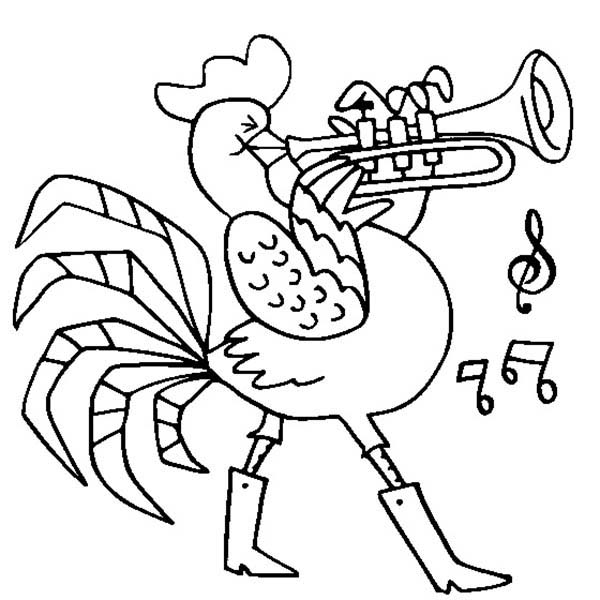 Rooster, : Rooster Playing Trumpet Coloring Page