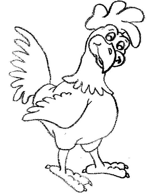 Rooster, : Rooster is Confuse Coloring Page