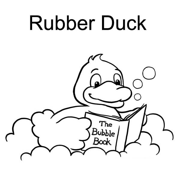 Rubber Ducky, : Rubber Ducky Reading a Book in Bathtub Coloring Page