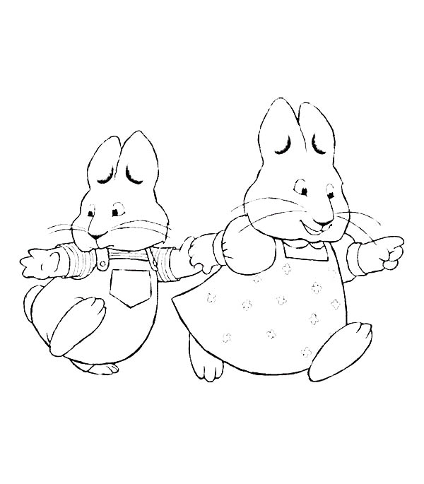 Max & Ruby, : Ruby Pull Maxs Hand in Max and Ruby Coloring Page