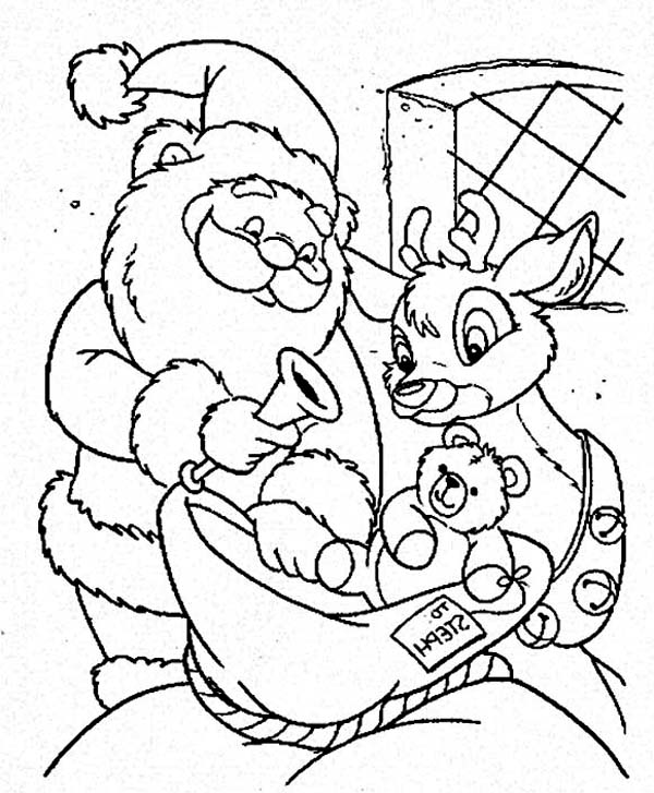 santa claus and the reindeer putting toys on the christmas sack on christmas coloring page